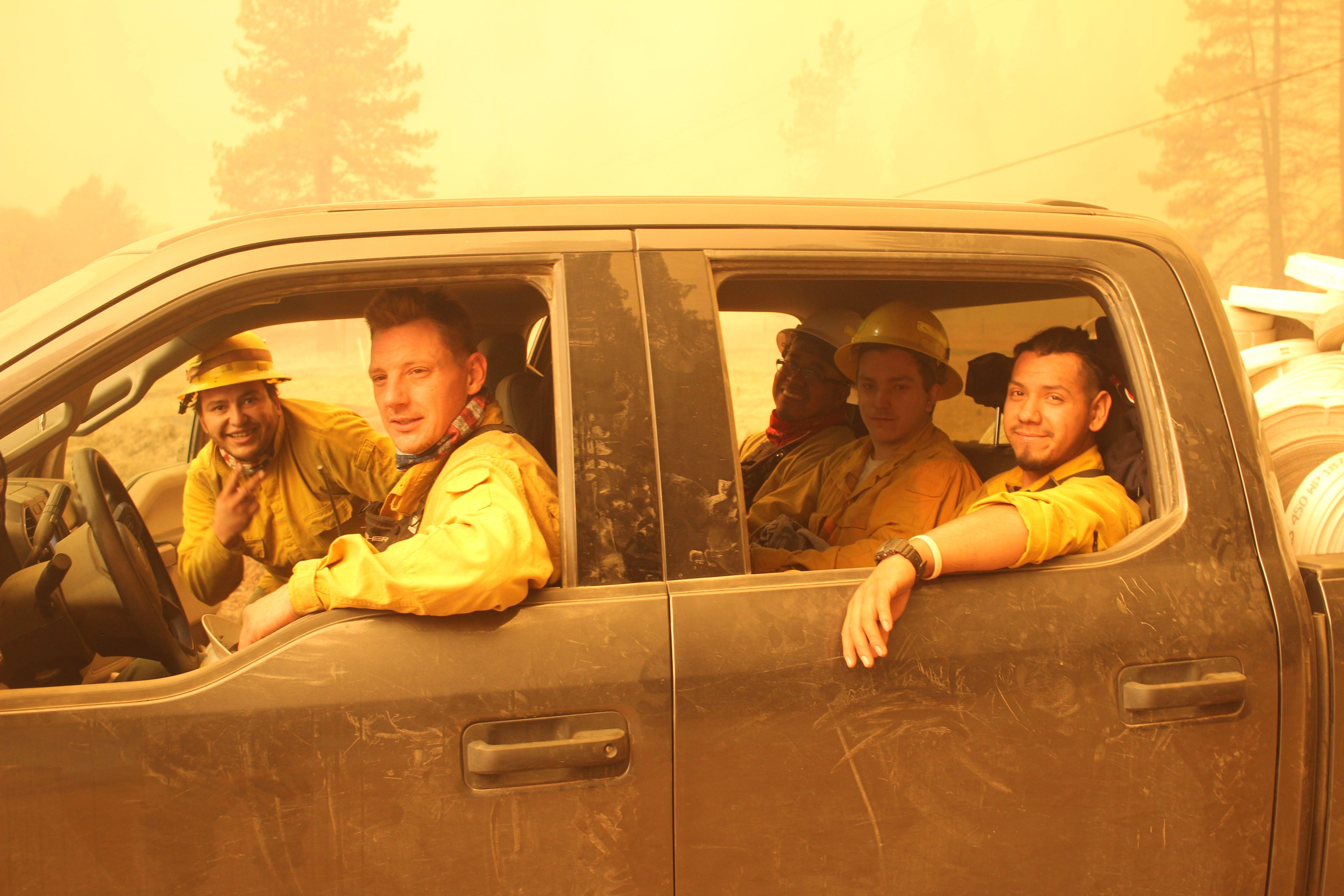 Crew cab truck full of firefighters. Photo Credit: Mike McMillan/USFS