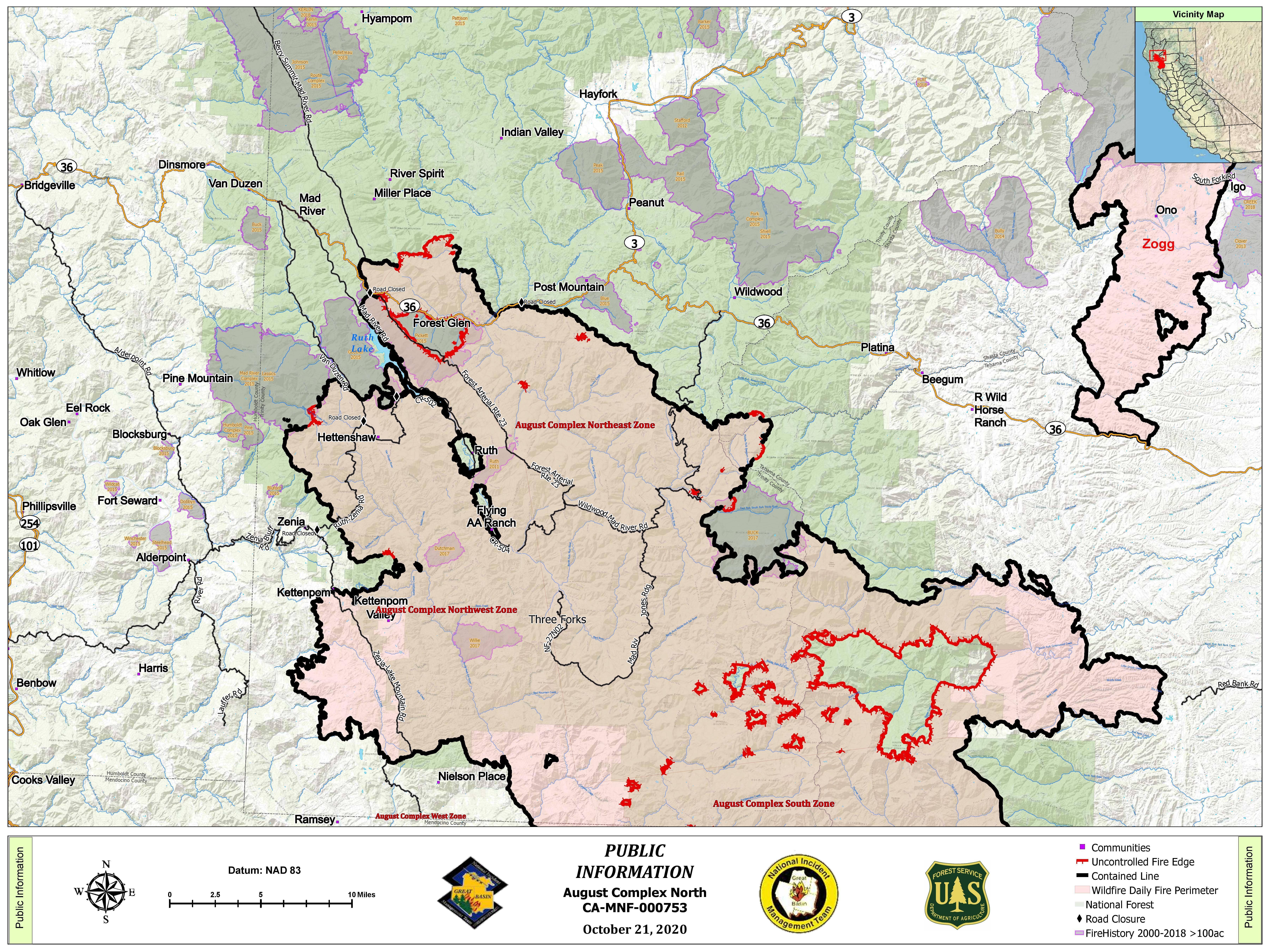 North Fire Perimter Map with uncontained perimeter line showing in red