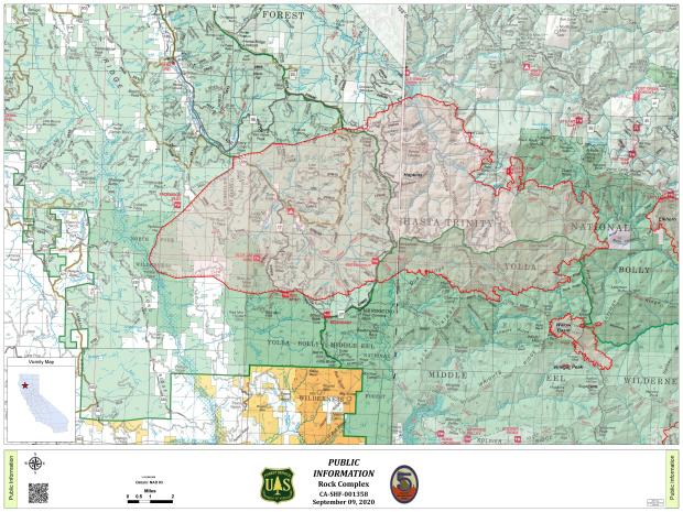 September 9, 2020 Map of Hopkins and Willows Fires