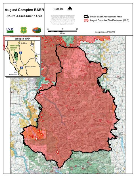 JPG Map Showing BAER Assessment Area for August Complex South