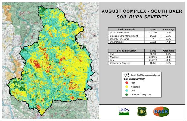 JPG Image showing August Complex South BAER SBS Map with Legend