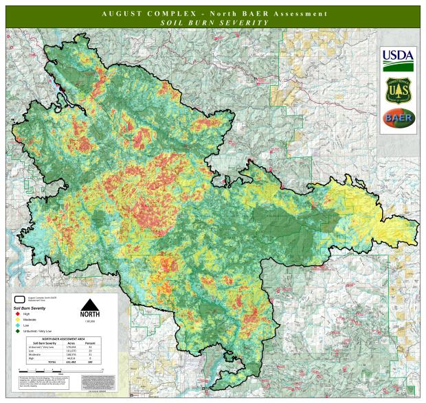 JPG Image showing August Complex-North BAER Soil Burn Severity Map