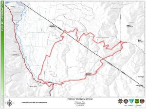 Fire perimeter map of the Mountain High Fire