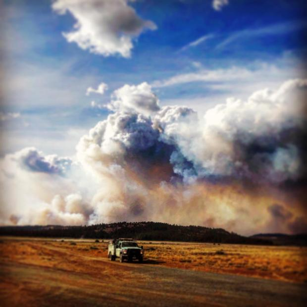 View looking north from Four Corners Fire Camp from early in the fire, Monday September 9th.