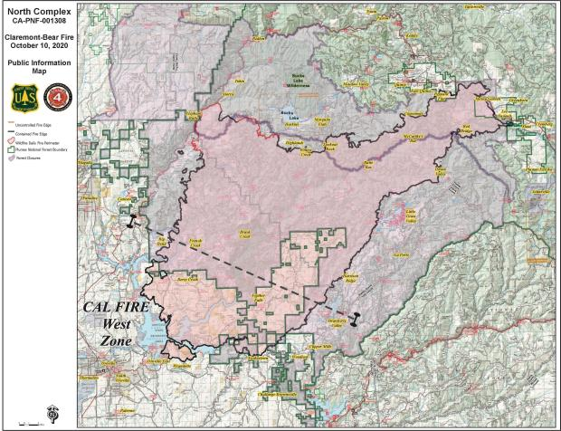 North Complex Fire 10-10-2020 Map