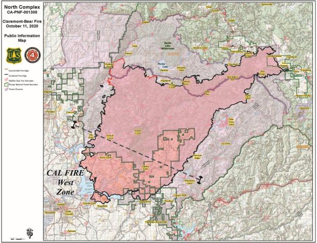 North Complex Fire 10-11-2020 Map