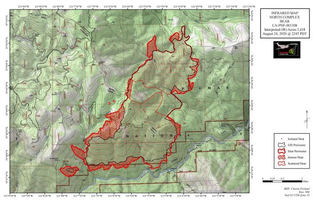 IR TOPO Map, exact perimiter and acreage may vary due to smoke interference
