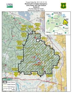 Map showing boundaries of Forest Closure effective August 1, 2021