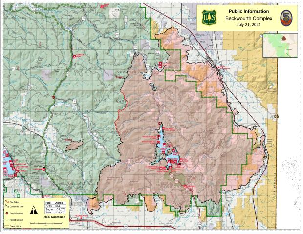 This map shows the fire perimeter of the beckwourth Complex as of July 20, 2021