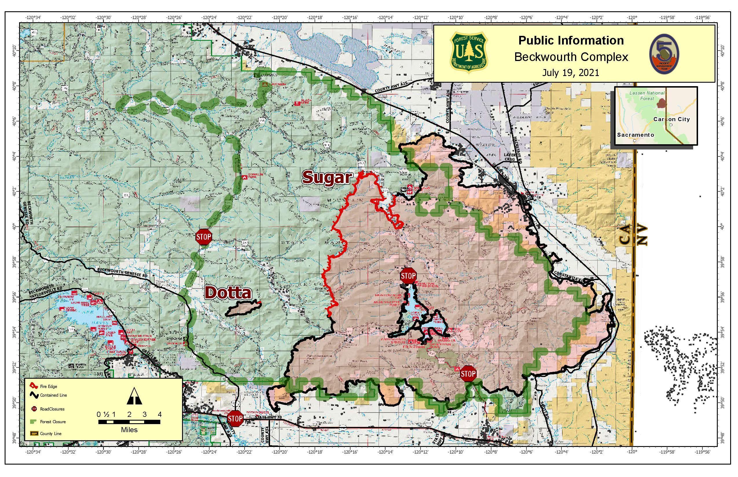 This map shows the fire perimeter map of the Beckwourth Complex on July 19, 2021