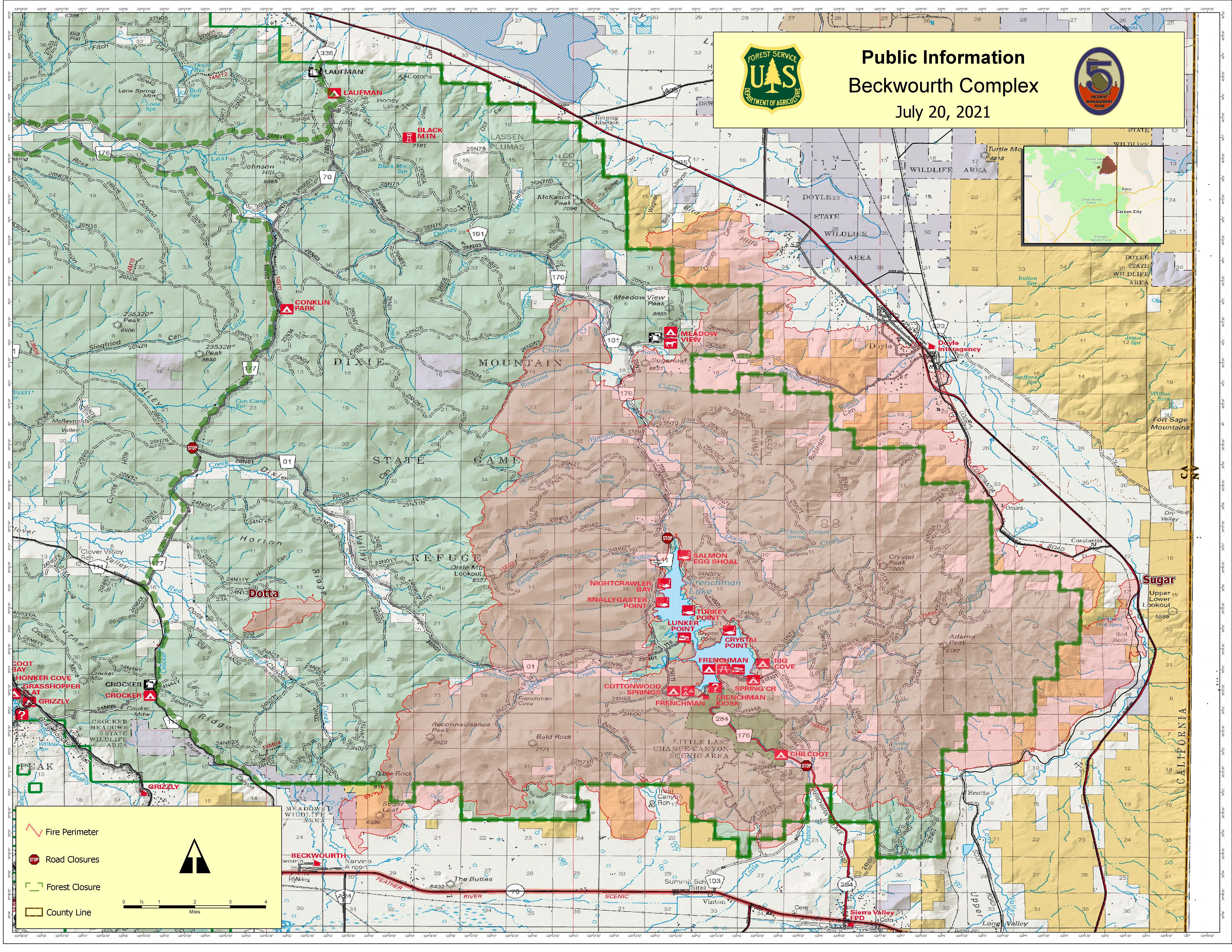 This map shows the fire perimeter of the Beckwourth Complex on July 20, 2021
