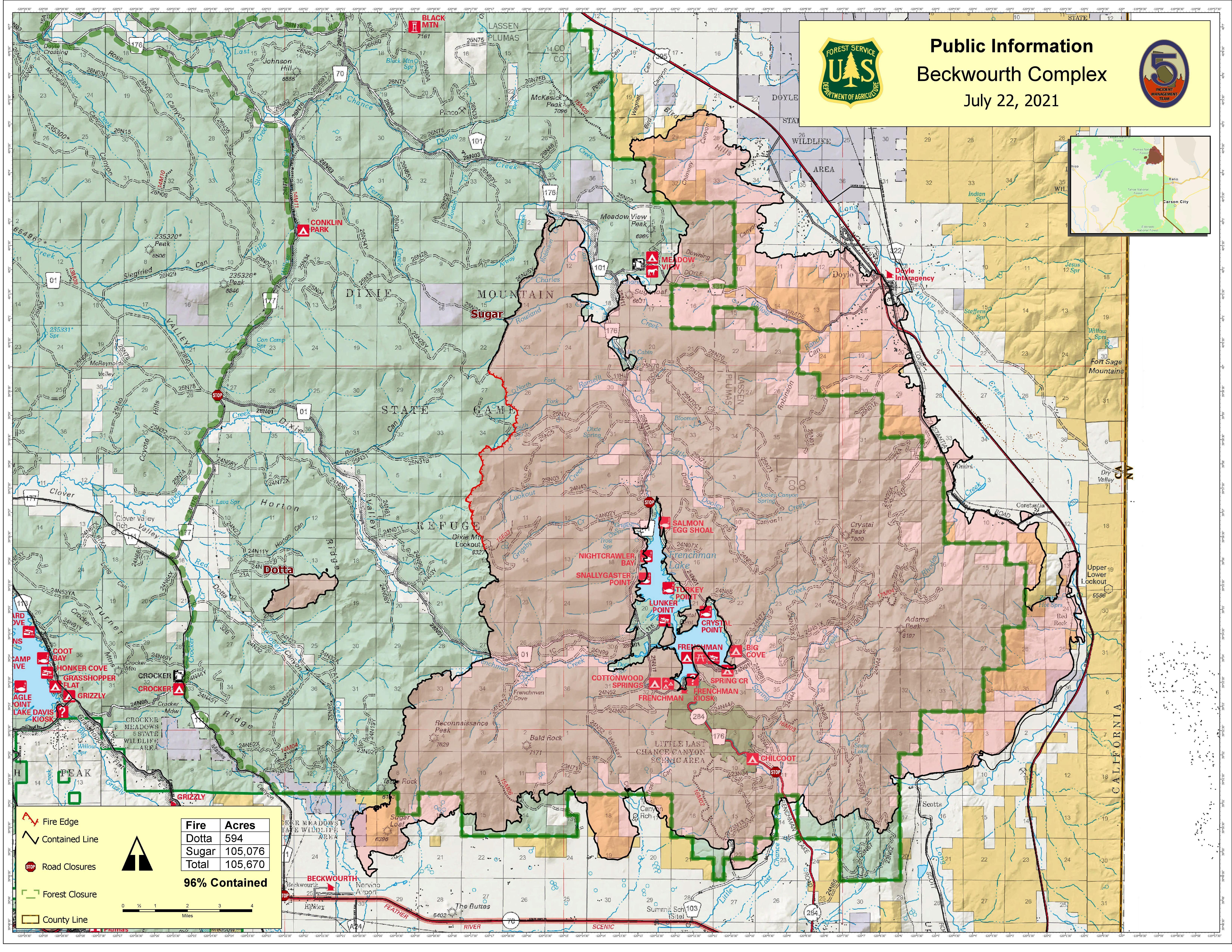 This Map show the fire perimeter of the Beckwourth Complex as of July 22, 2021