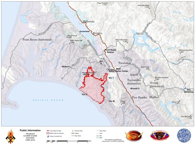 Woodward Fire Boundary Map - Aug 27