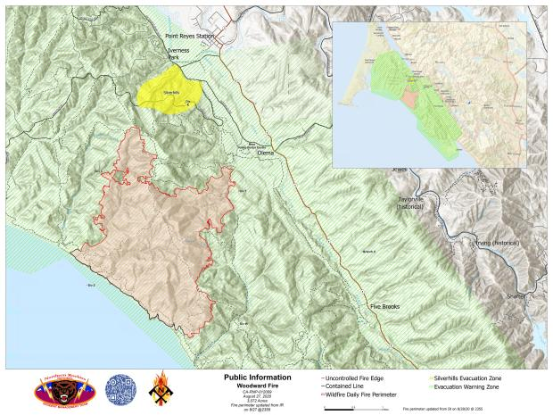 Woodward Fire Boundary Map - Aug 28