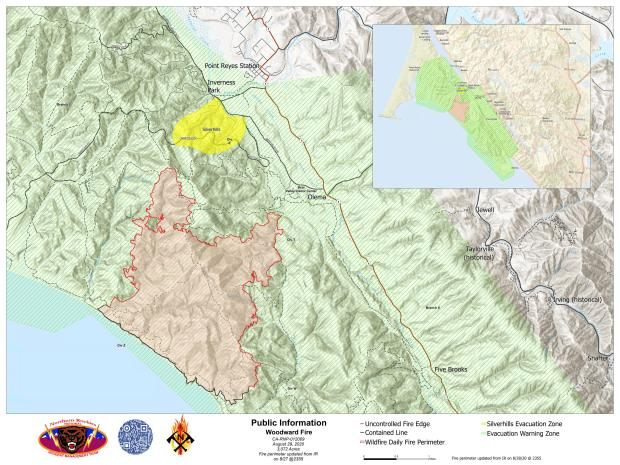 Woodward Fire Boundary Map - Aug 29