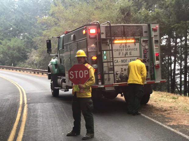 Roads are closed temporarily (even for fire personnel) while snags are felled and cleaned up