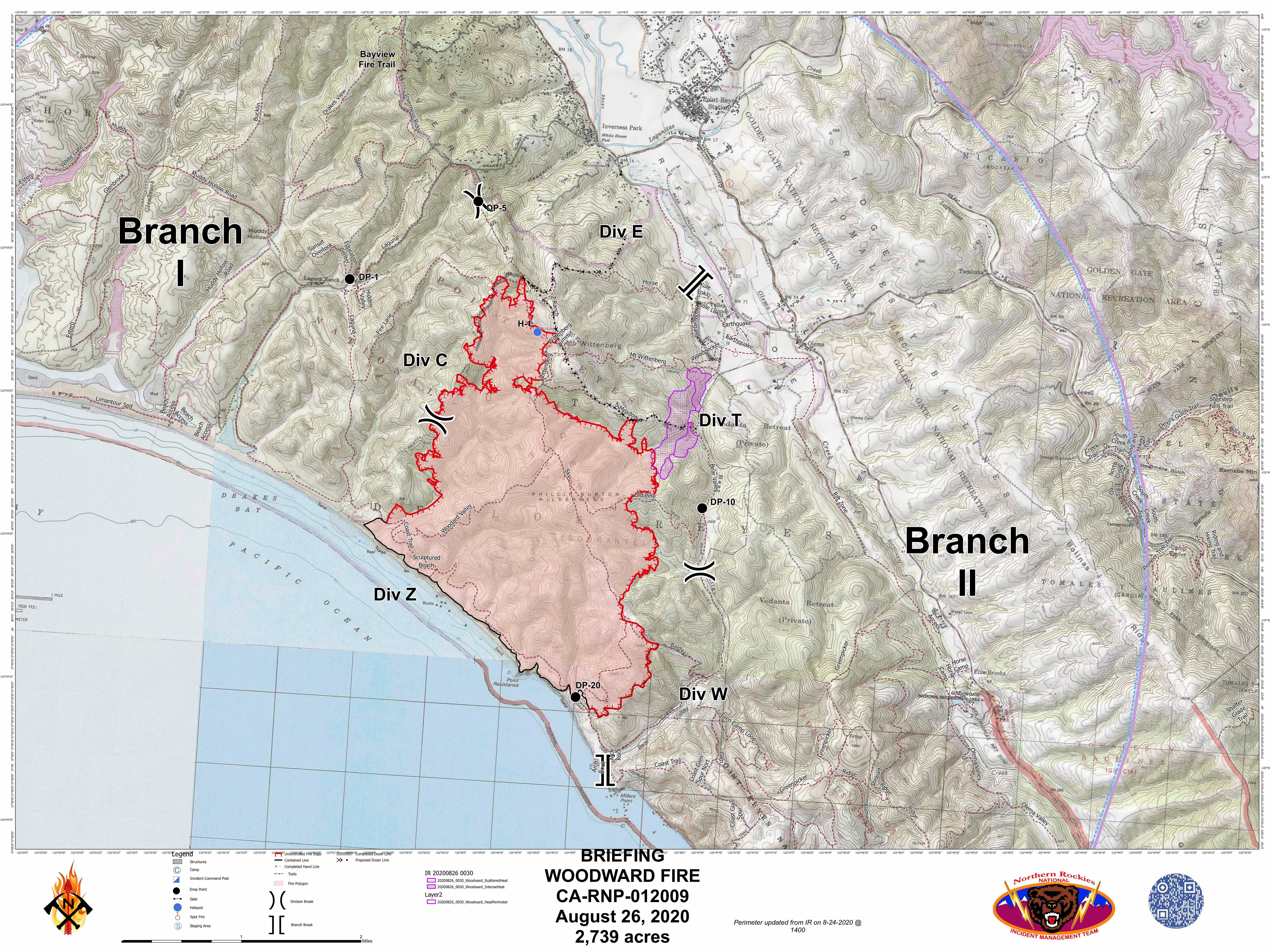 Woodward Fire Boundary Map - Aug 26
