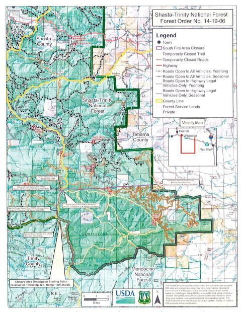 South Fire Closure Map SHF NF