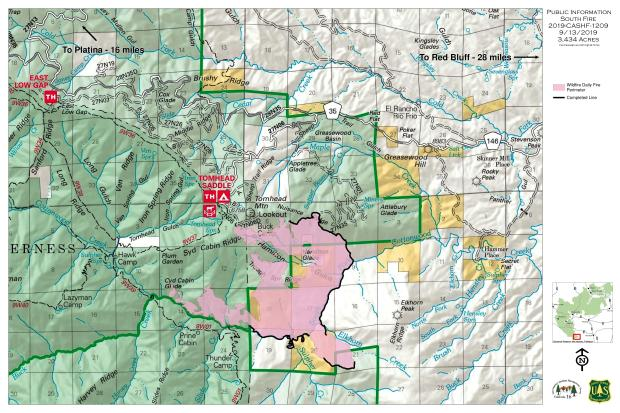 South Fire Perimeter map 9-13-19