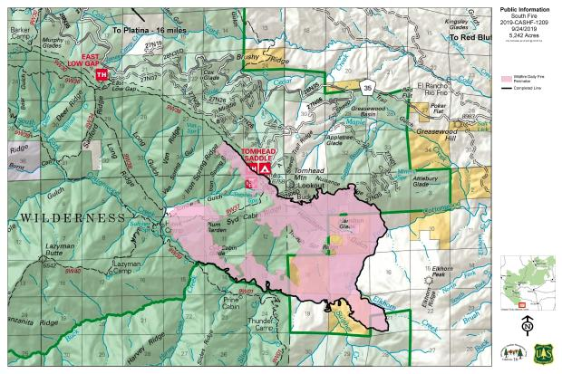 South Fire Map September 24, 2019
