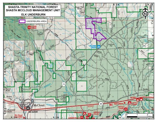This map shows the location of the Elk Prescribed Burn unit near the Pilgrim Creek Snowmobile Park northeast of McCloud, CA