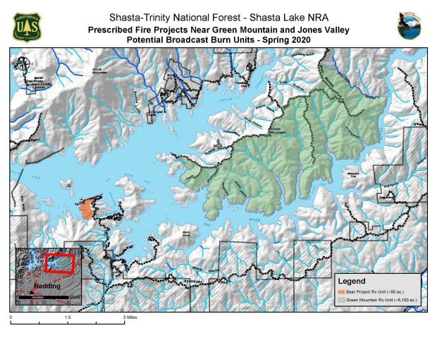 Map of Bear & Green Mountain planned Prescribed understory fire projects near Jones Valley on Shasta Lake for Spring 2020.