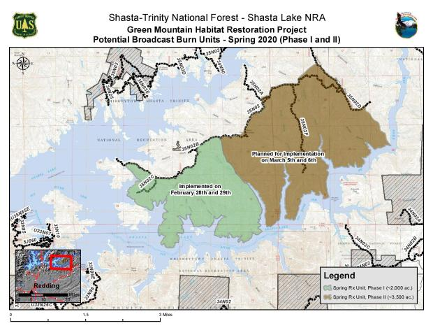 Map of the Green Mountain Prescribed Fire Projects north of Jones Valley