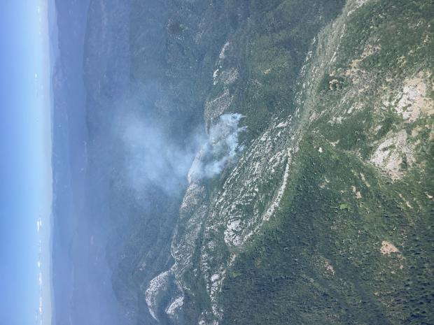 This photograph shows the Brock Lightning Fire from the Air Attack Plane