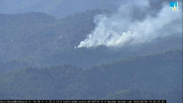 The smoke rising from the Brock Fire is seen on this webcam still taken from the Round Mountain Webcam.