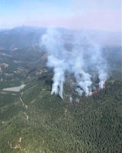 Image of the Spring Fire burning in the trees from a plane