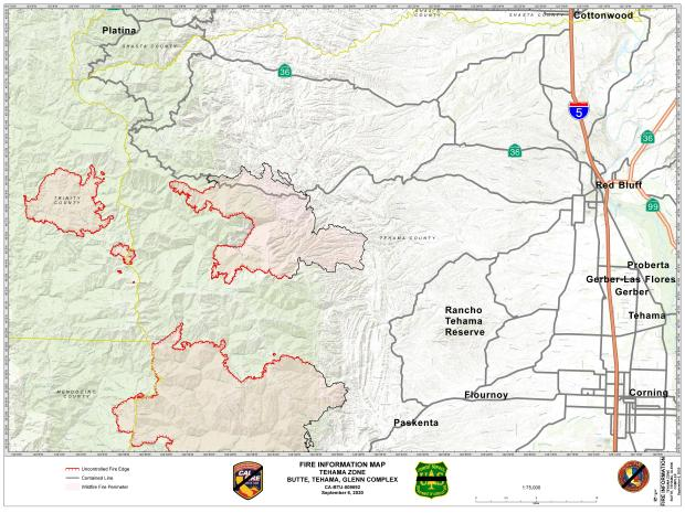 September 6, 2020 Tehama Zone map including the August Complex and Butte/Tehama/Glenn Complex fires