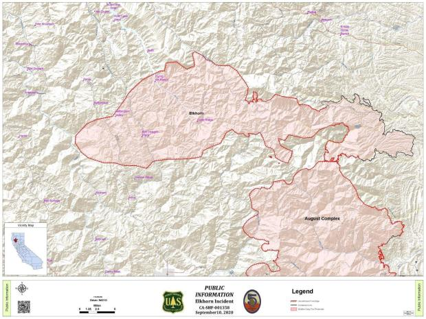 image of a map of the Elkhorn Fire for Thurs Sept 10m 2020