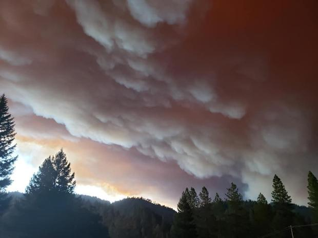 image of Hopkins Fire heavy smoke 9.9.20 near Mad River Ranger District