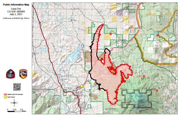 Map of fire area with boundary and containment lines