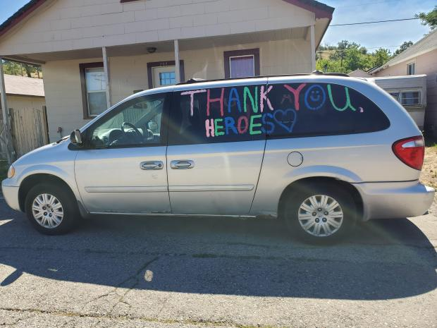 A van in Weed, Calif. thanks firefighters publicly