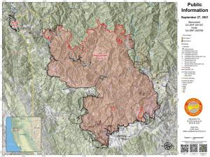 Image of the Monument Fire Information map for September 27, 2021