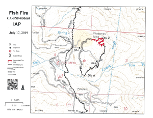 Fish Fire map showing the perimeter of the fire with bulldozer and handline.
