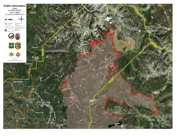 Creek Fire Satellite Imagery Map 10.9.2020