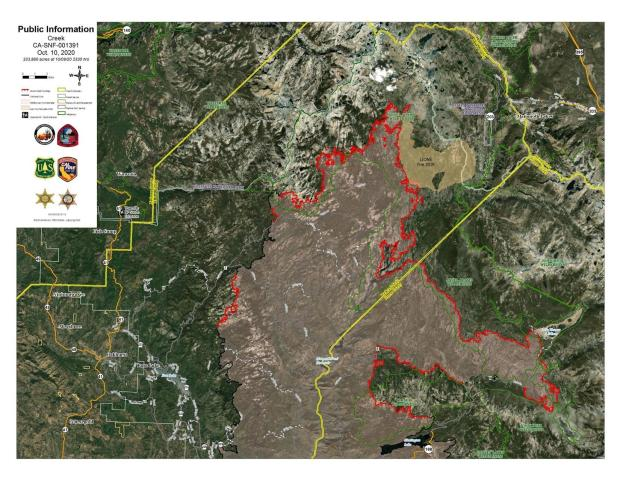 Creek Fire Satellite Imagery Map