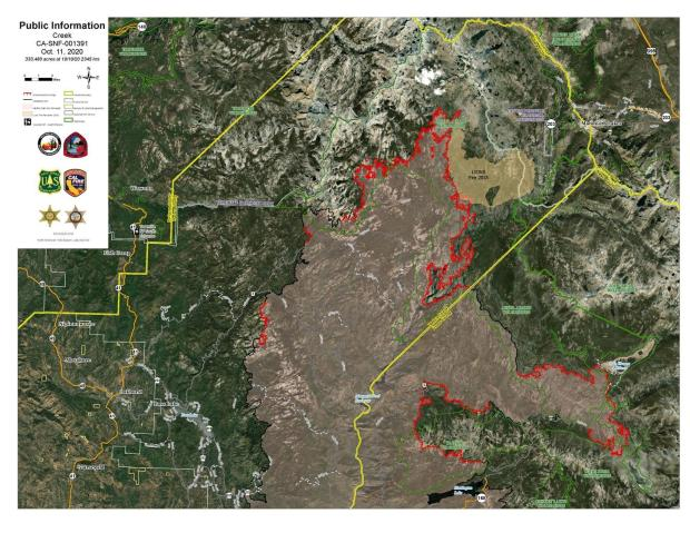 Creek Fire Satellite Imagery Map 10.11.2020