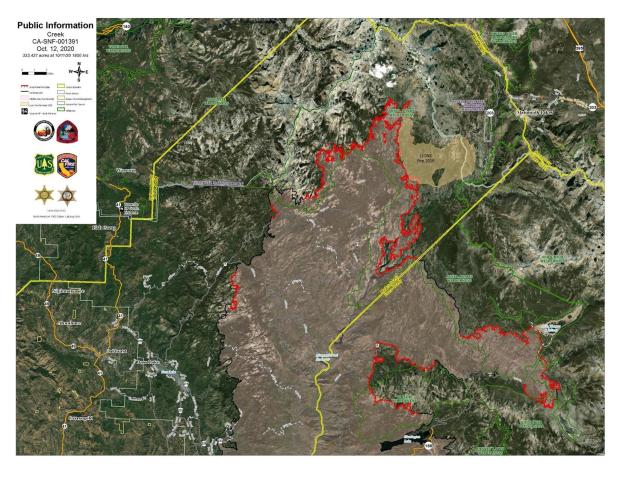 Creek Fire Satellite Imagery Map 10.12.2020