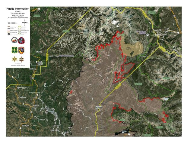 Creek Fire Imagery Map 10.14.2020
