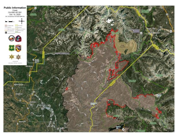 Creek Fire Satellite Imagery Map 10.15.20