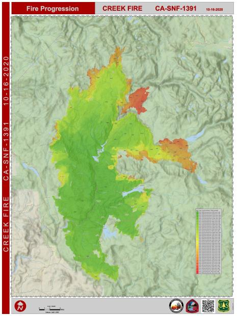 Creek Fire Progression Map for 10.16.2020
