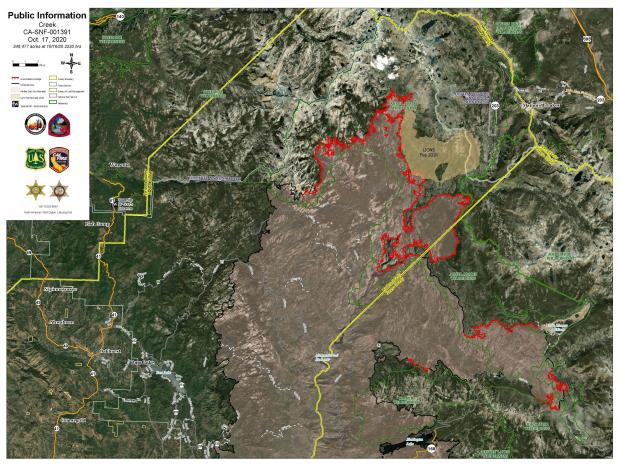 Creek Fire Satellite Imagery  Map 10.17.2020