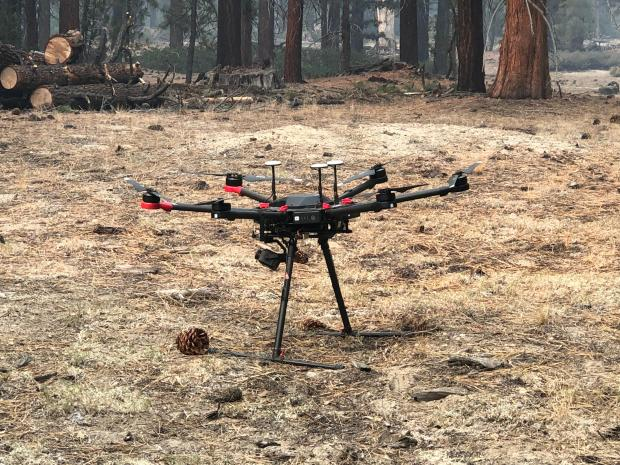 USFS Infrared Drone used to detect hot spots along the fires edge to assist fire suppression efforts near Vermillion Camp Ground by Edison Lake. Photo taken October 22 by Derek Tsinger/USFS