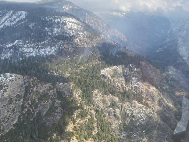 Snow blankets the Wilderness in the Sierra National Forest along the Fish Creek drainage below Pumice Butte on Saturday, Nov. 7, 2020, in these aerial reconnaissance photos of the Creek Fire. Casey Boesflug/Alaska IMT