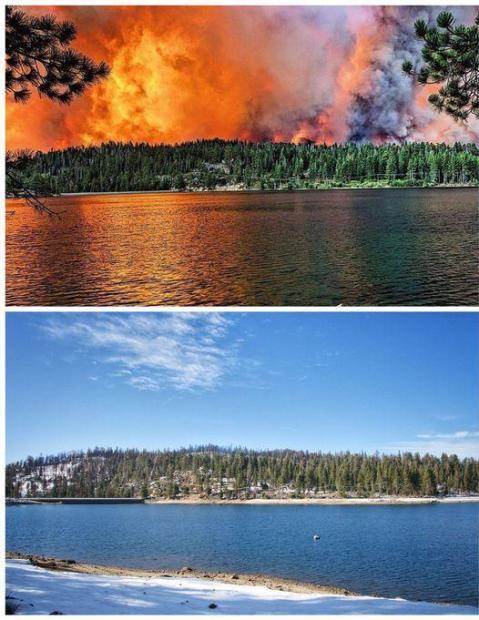 Huntington Lake Dam Before and After