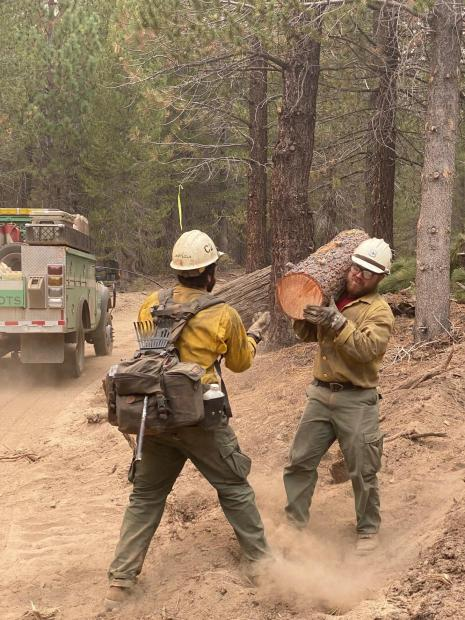 hotshot carrying log from fireline