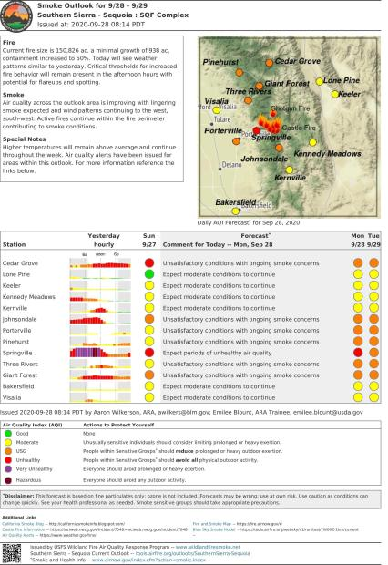 Sequoia Complex Smoke Outlook Map for 9/28